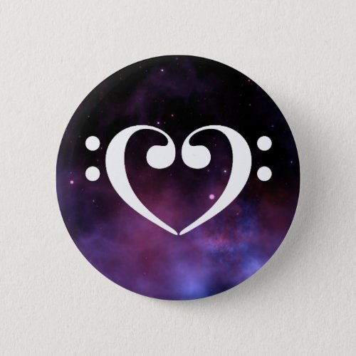 Double Bass Clef Heart Purple Nebula Outer Space Standard Round Button
