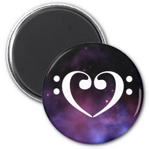 Double Bass Clef Heart Purple Nebula Outer Space Round Magnet