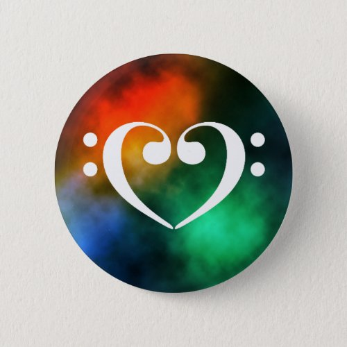 Double Bass Clef Heart Rainbow Nebula Outer Space Standard Round Button