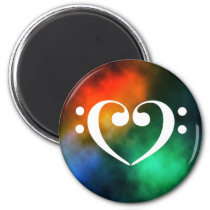 Double Bass Clef Heart Rainbow Nebula Outer Space Magnet