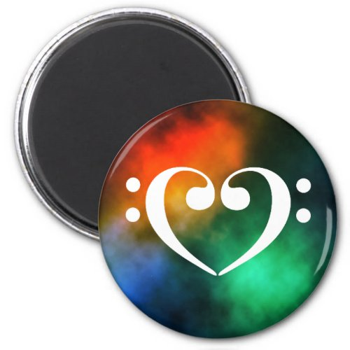 Double Bass Clef Heart Rainbow Nebula Outer Space Round Magnet
