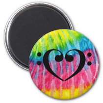 Double Bass Clef Heart Retro Tie Dye Rainbow Music Magnet
