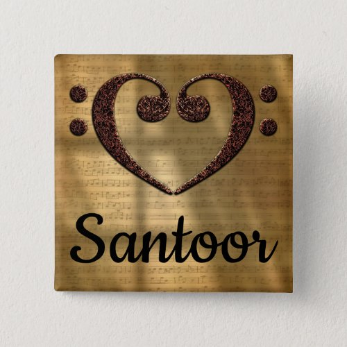 Double Bass Clef Heart Santoor Music Lover 2-inch Square Button