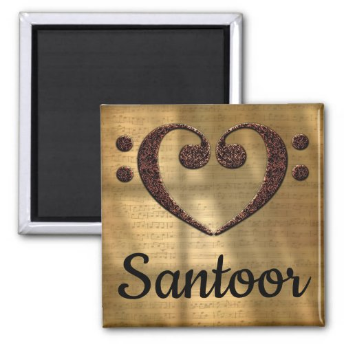 Double Bass Clef Heart Santoor Music Lover 2-inch Square Magnet