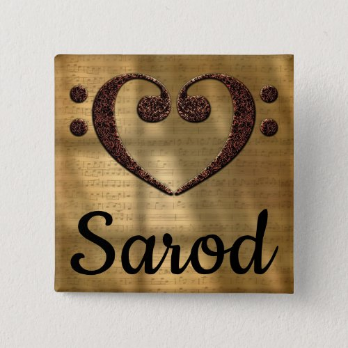 Double Bass Clef Heart Sarod Music Lover 2-inch Square Button