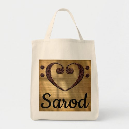 Double Bass Clef Heart Over Golden Sheet Music Sarod Grocery Tote Bag