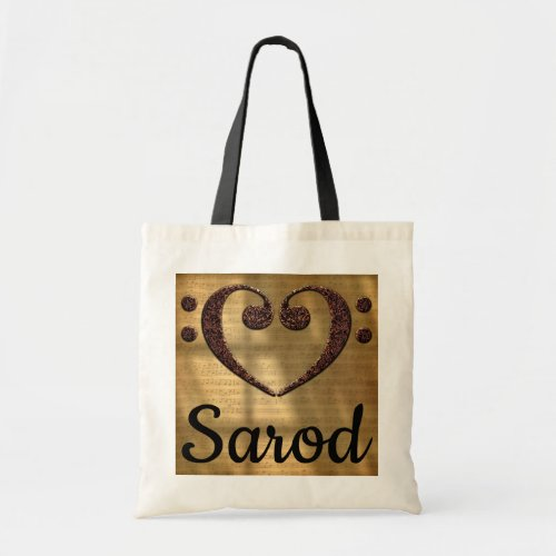 Double Bass Clef Heart Over Golden Sheet Music Sarod Budget Tote Bag