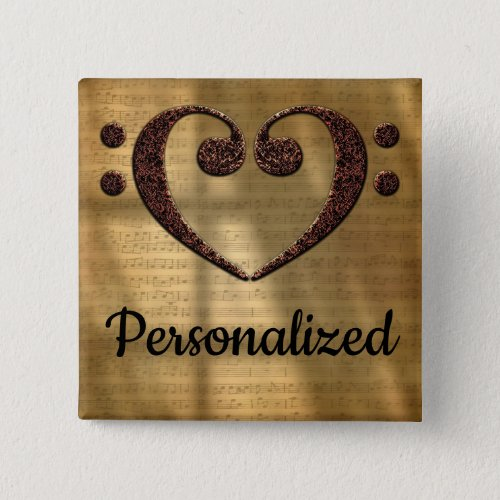 Double Bass Clef Heart Over Gold Sheet Music Personalized 2-inch Square Button