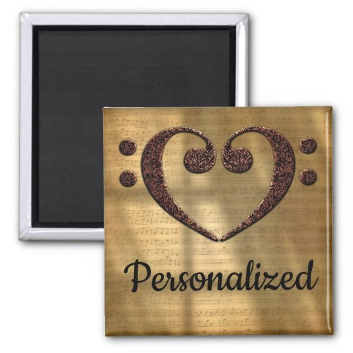 Double Bass Clef Heart Over Gold Sheet Music Personalized 2-inch Square Magnet