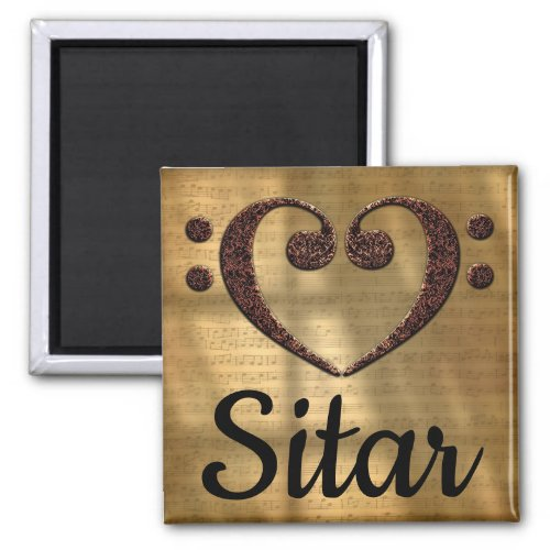 Double Bass Clef Heart Sitar Music Lover 2-inch Square Magnet