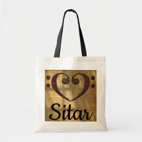 Double Bass Clef Heart Over Sheet Music Sitar Budget Tote Bag