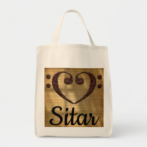 Double Bass Clef Heart Over Golden Sheet Music Sitar Grocery Tote Bag