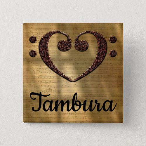 Double Bass Clef Heart Tambura Music Lover 2-inch Square Button