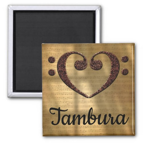 Double Bass Clef Heart Tambura Music Lover 2-inch Square Magnet