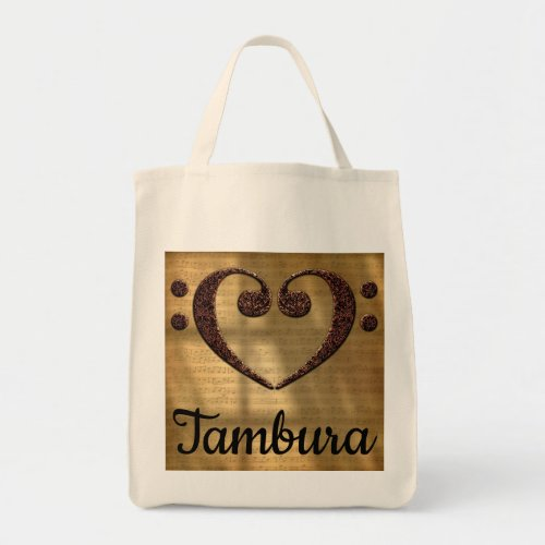 Double Bass Clef Heart Over Golden Sheet Music Tambura Grocery Tote Bag