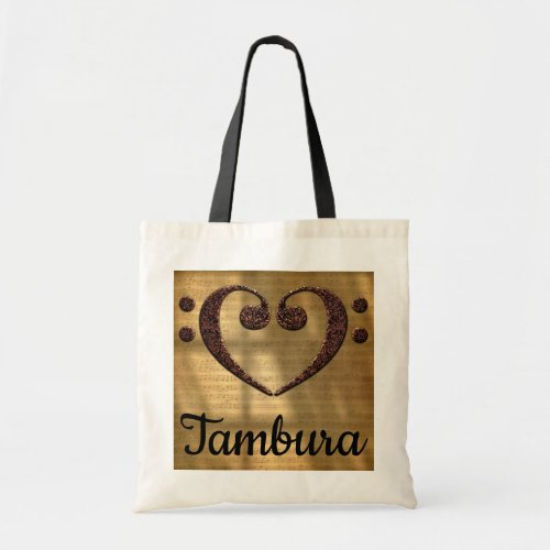 Double Bass Clef Heart Over Golden Sheet Music Tambura Budget Tote Bag
