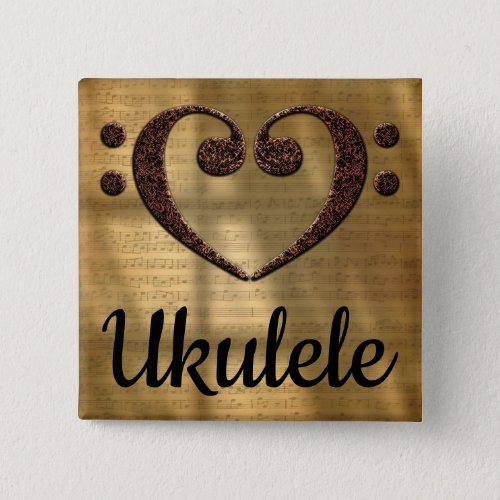 Double Bass Clef Heart Ukulele Music Lover 2-inch Square Button
