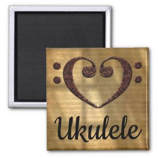 Double Bass Clef Heart Ukulele Magnet