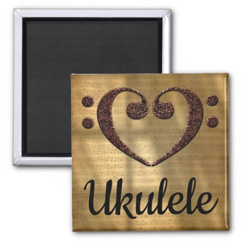 Double Bass Clef Heart Ukulele Music Lover 2-inch Square Magnet