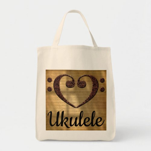 Double Bass Clef Heart Over Golden Sheet Music Ukulele Grocery Tote Bag