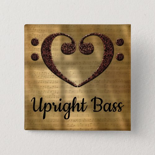 Double Bass Clef Heart Upright Bass Music Lover 2-inch Square Button