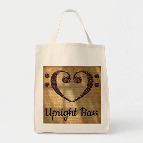 Double Bass Clef Heart Over Golden Sheet Music Upright Bass Grocery Tote Bag