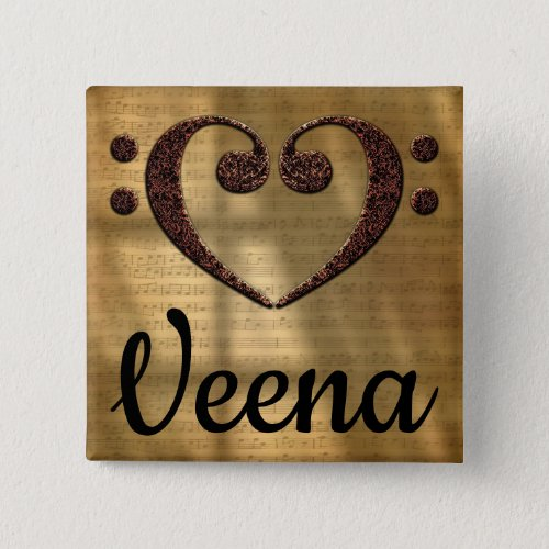 Double Bass Clef Heart Veena Music Lover 2-inch Square Button