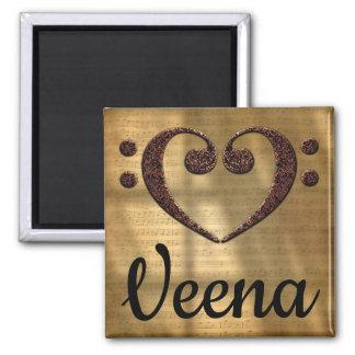 Double Bass Clef Heart Veena Magnet