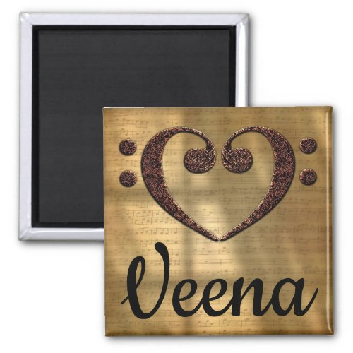 Double Bass Clef Heart Veena Music Lover 2-inch Square Magnet
