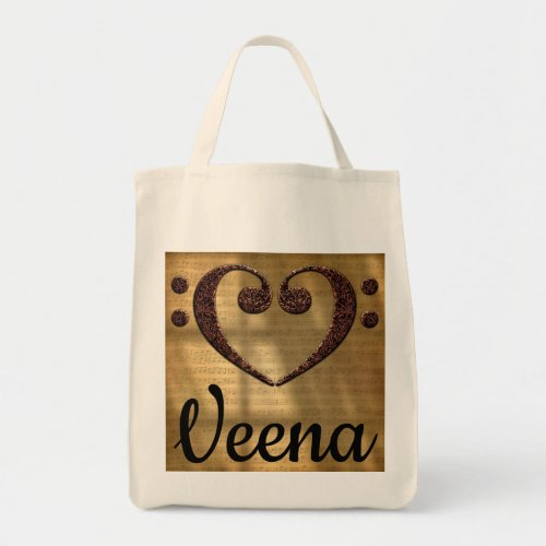 Double Bass Clef Heart Over Golden Sheet Music Veena Grocery Tote Bag