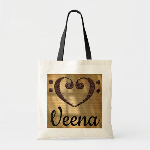 Double Bass Clef Heart Over Golden Sheet Music Veena Budget Tote Bag