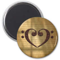 Double Bass Clef Heart Vintage Gold Sheet Music Magnet