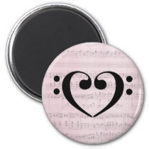 Double Bass Clef Heart Vintage Pink Sheet Music Magnet