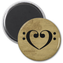 Double Bass Clef Heart Vintage Sheet Music Bassist Magnet