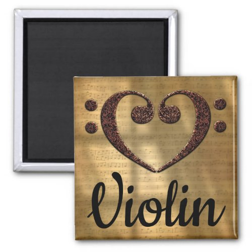 Double Bass Clef Heart Violin Music Lover 2-inch Square Magnet