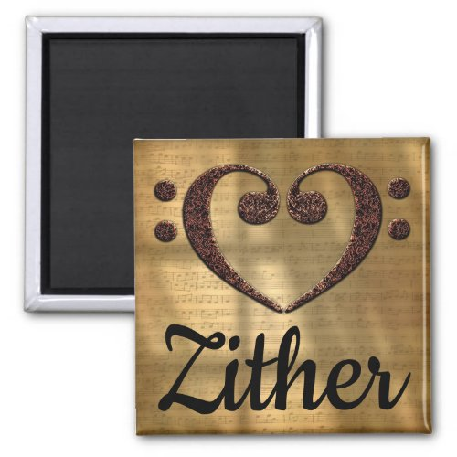 Double Bass Clef Heart Zither Music Lover 2-inch Square Magnet
