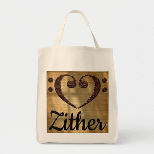 Double Bass Clef Heart Over Golden Sheet Music Zither Grocery Tote Bag