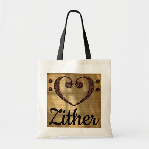 Double Bass Clef Heart Over Sheet Music Zither Budget Tote Bag