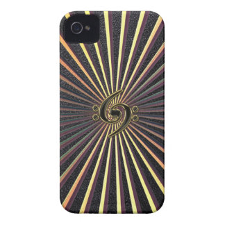Double Bass Clef Spiral Metal Sunburst iPhone Case iPhone 4 Case-Mate Cases