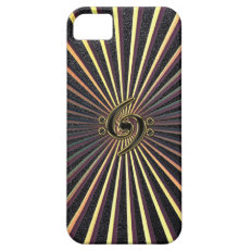 Double Bass Clef Spiral Metal Sunburst iPhone Case iPhone 5 Cover