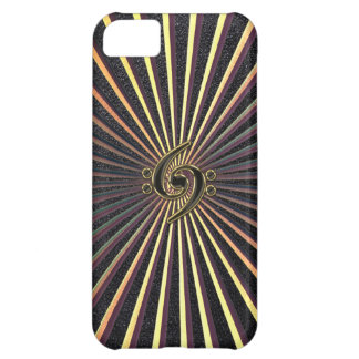 Double Bass Clef Spiral Metal Sunburst iPhone Case iPhone 5C Covers
