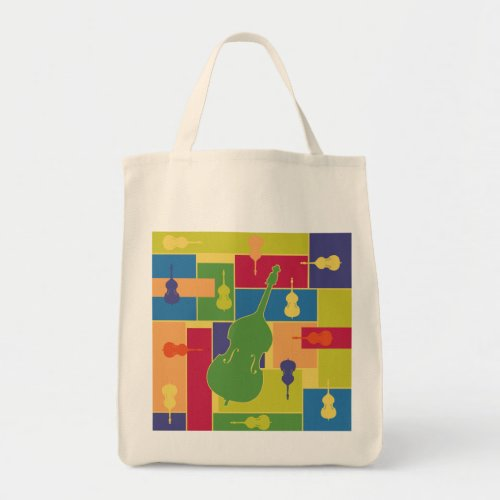 Double Bass Colorblocks Grocery Tote Bag