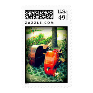 Double Bass Couple Postage Stamp