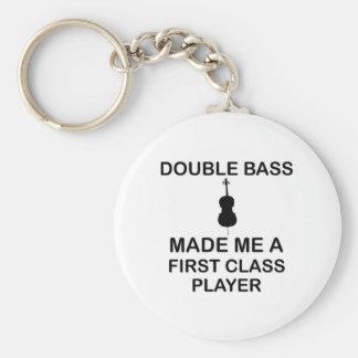 double bass design basic round button keychain