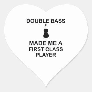 double bass design heart sticker