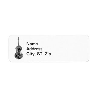 Double Bass Shaped Word Art Black Text Label