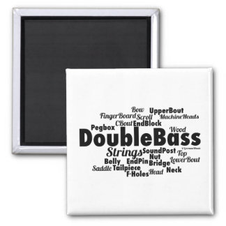 Double Bass Word Cloud 2 Inch Square Magnet