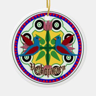 double bird hex sign ceramic ornament