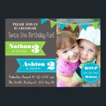 """Double Birthday Party Invite (Boy/Boy)<br><div class=""""desc"""">It's twice the birthday fun with this adorable graphic-style birthday party invitation,  complete with fun flags and a space for your special photo. Have two girls or one of each? Check out the Girl/Girl and Boy/Girl options available for this invitation!</div>"""