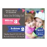 "Double Birthday Party Invite (Boy/Girl) 5"" X 7"" Invitation Card"
